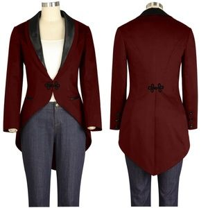 Jackets & Blazers - Plus Size Long Tail Jacket Coat Collar Formal Goth